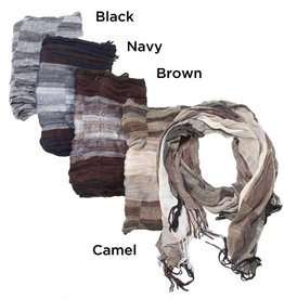 David & Young Lightweight Mixed Pattern Scarf with Fringe