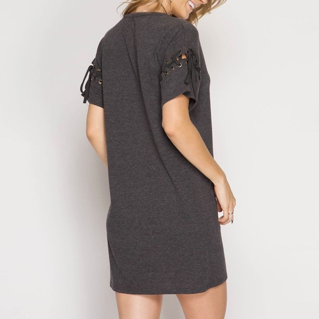 She & Sky Drop Shoulder Mini Shift Dress with Lace-Up Detail