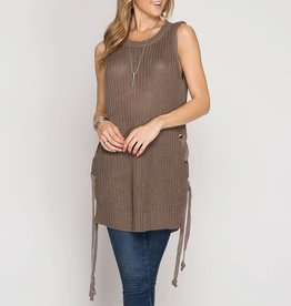 She & Sky Sleeveless Sweater Tunic with Side Lace-Up Detail