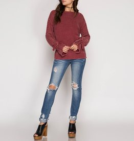 She & Sky Stone Washed Long Sleeve Pullover Sweater with Ties