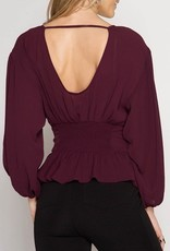 She & Sky Balloon Sleeve Peasant Top with Corset Detail
