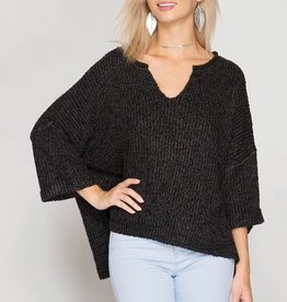 She & Sky Oversized 3/4 Sleeve V-Neck Sweater