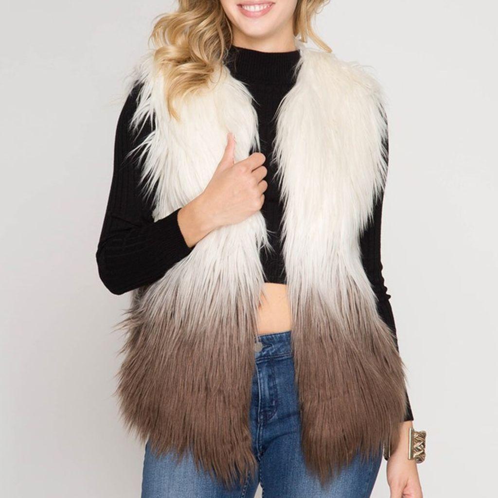 She & Sky Ombre Faux Fur Vest