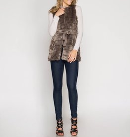 She & Sky Faux Fur Vest with Microsuede Sash