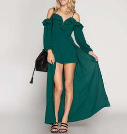 She & Sky Balloon Sleeve Ruffled Romper with Open Maxi Skirt Extention