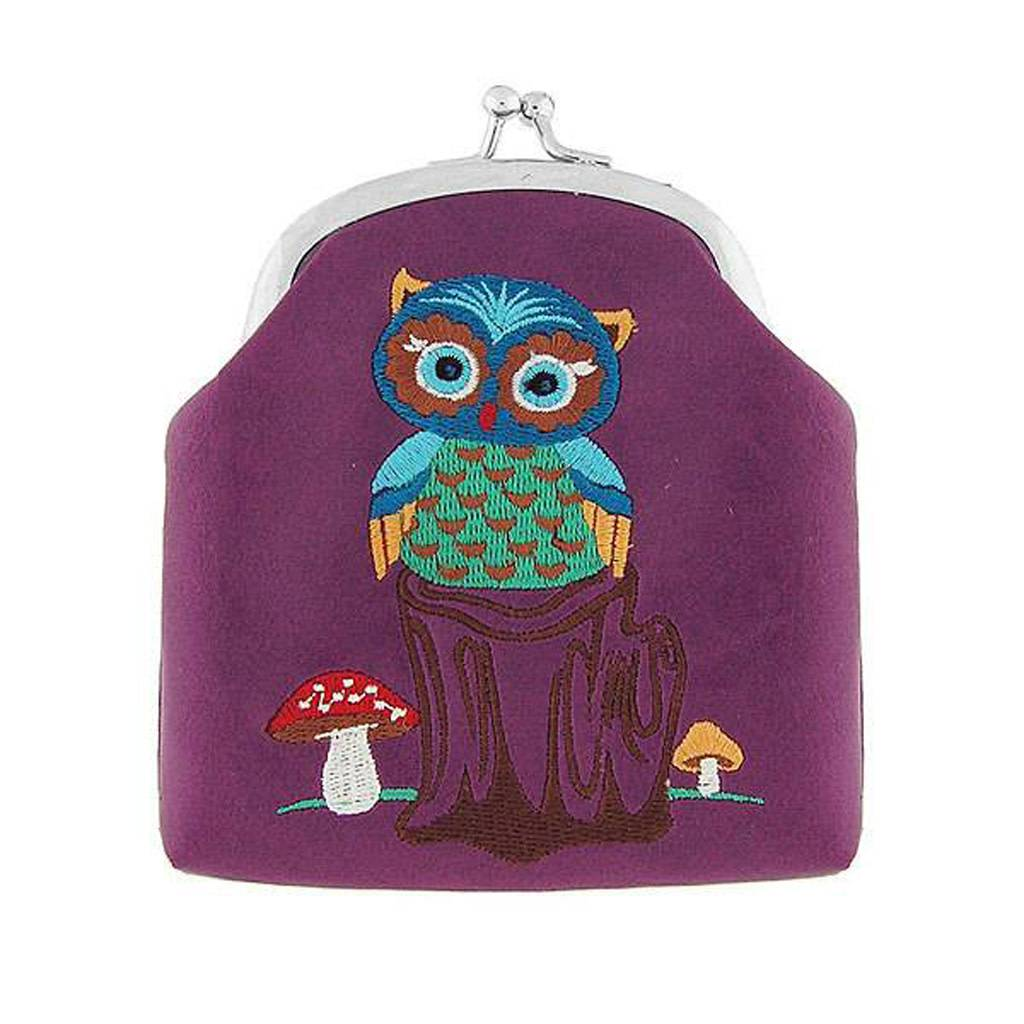 Lavishy Owl Embroidered Lock Frame Coin Purse