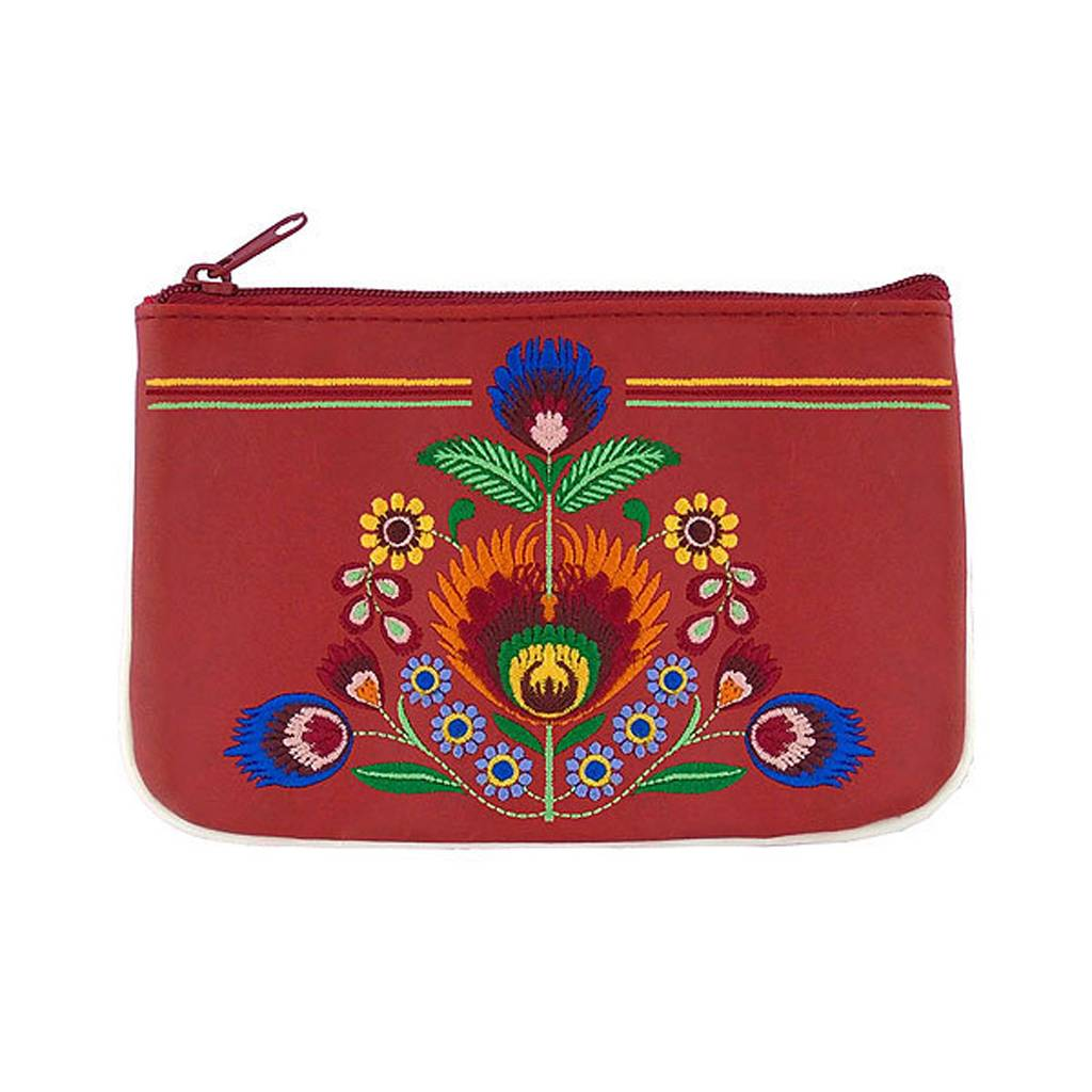 Lavishy Polish Flowers Embroidered Small Pouch