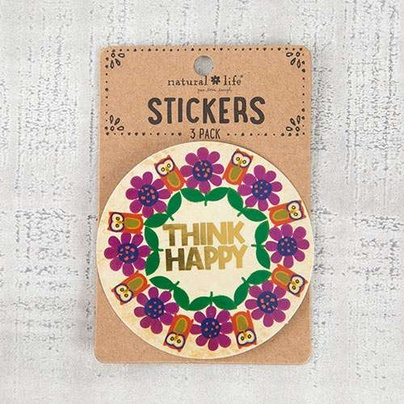 "Natural Life 3pc Sticker Set ""Think Happy"""