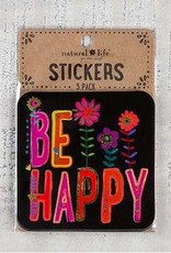 """Natural Life 3pc Sticker Set """"Be Happy"""""""