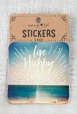 "Natural Life 3pc Sticker Set ""Live Happy"""