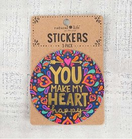"""Natural Life 3pc Sticker Set """"You Make My Heart Happy"""""""