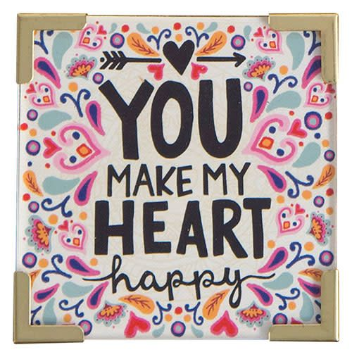 "Natural Life Corner Magnet ""You Make My Heart Happy"""