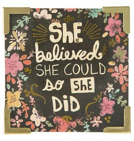"Natural Life Corner Magnet ""She Believed She Could"""