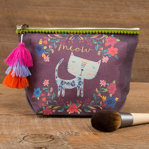 """Natural Life Canvas Pouch """"Meow"""""""