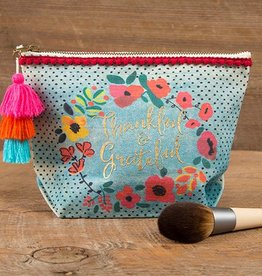 """Natural Life Canvas Pouch """"Thankful & Grateful"""""""