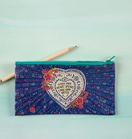 "Natural Life Recycled Pencil Bag ""When Your Heart Speaks"""