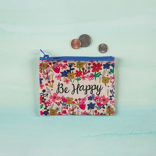 "Natural Life Recycled Coin Purse ""Be Happy"""