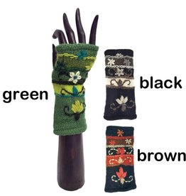 Yak & Yeti Embroidered Floral Scroll Wrist Warmers