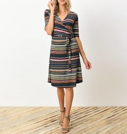Gilli Variable Stripe Faux Wrap Dress with Tie Belt