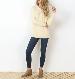 Gilli Fuzzy Knit Sweater with Lace-Up Detail