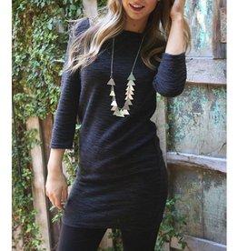 Angie Marled Knit 3/4 Sleeve Tunic Dress