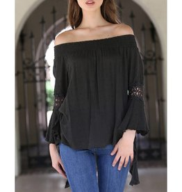 Angie Off The Shoulder Bell Sleeve Top with Lace Cutouts