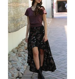Angie Floral Print Ruffle Hi Lo Skirt