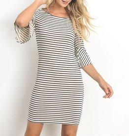 Gilli Striped Bell Sleeve Bodycon Dress