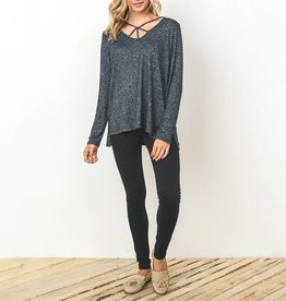 Gilli Relaxed Fit Cage Neck Knit Top