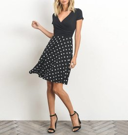 Gilli Polka Dot Faux Wrap Fit & Flare Dress with Solid Bodice