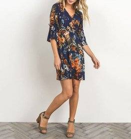 Gilli Floral Fit & Flare Bell Sleeve Dress with Criss Cross V-Neck