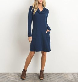 Gilli Soft Knit Cowl Neck Tunic Dress with Square Pockets