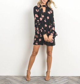 Gilli Floral Print Keyhole Dress with Tiered Bell Sleeves