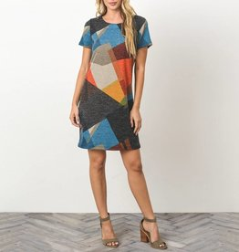 Gilli Abstract Geo Print Mod Dress with Zipper Back Detail