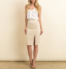 Gilli Microsuede Pencil Skirt with Side Slit