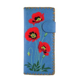 Lavishy Poppy Flowers Embroidered Large Wallet