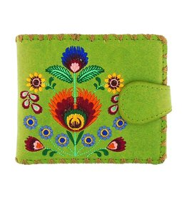 Lavishy Polish Flowers Embroidered Medium Wallet