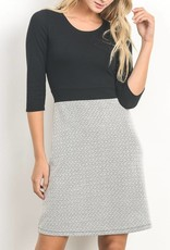 Gilli Scoopneck Geo Print Dress with Solid 3/4 Sleeve Bodice