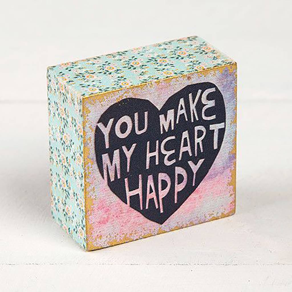 "Natural Life ""You Make My Heart"" Tiny Block Keepsake"