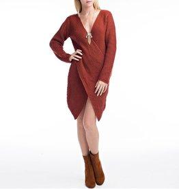 Hot & Delicious Envelope Wrap Knit Sweater Dress