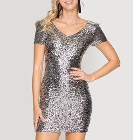 She & Sky Short Sleeve Sequined Mini Dress