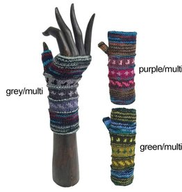 Yak & Yeti Marbled Mix Stripe Fleece-Lined Wrist Warmers
