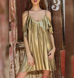 Angie Tiered Metallic Cold Shoulder Dress