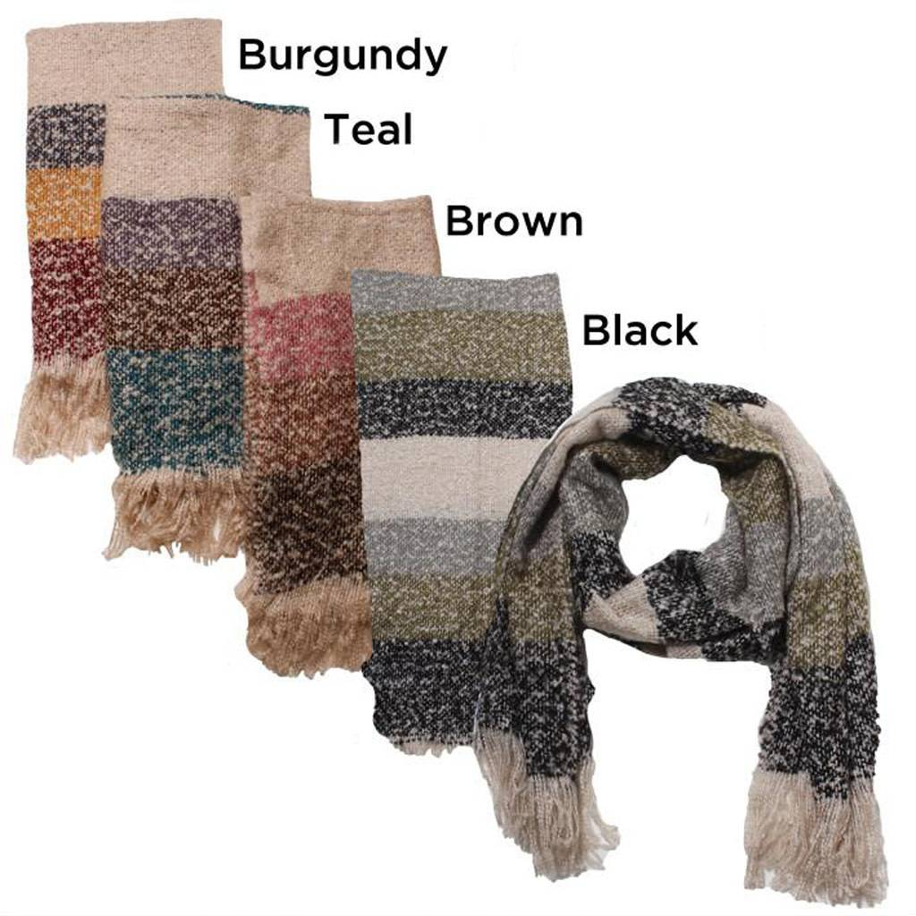 David & Young Boucle Stripe Scarf with Fringe