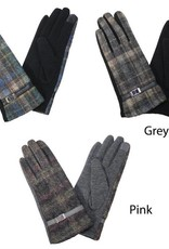 David & Young Multicolor Plaid Touch Gloves