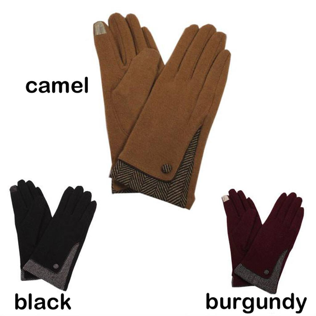 David & Young Solid Touch Gloves with Herringbone Accent
