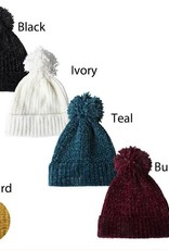 David & Young Solid Chenille Toboggan with Pom Pom
