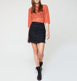 Hayden Frayed Hem Lace-Up Denim Mini Skirt