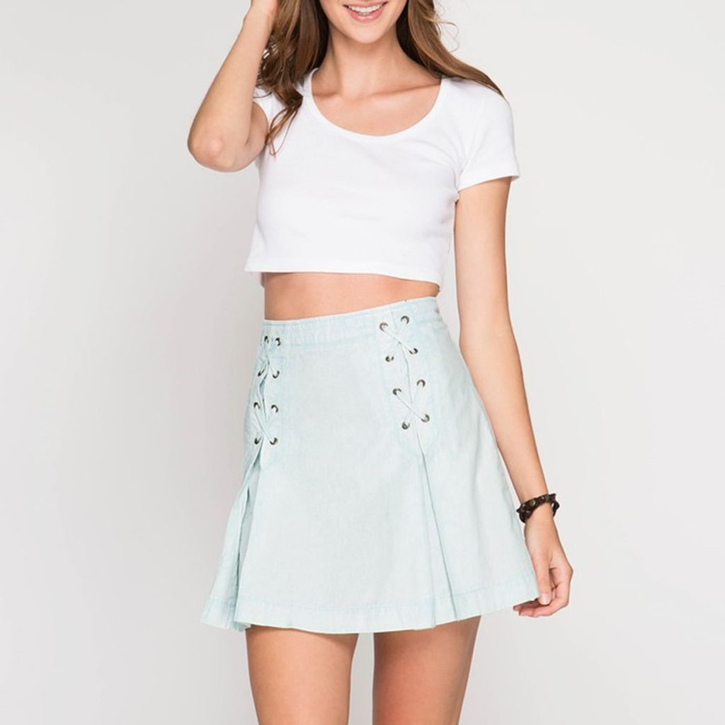 She & Sky Acid Wash Denim Mini Skirt with Lace-Up Pleats