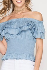 She & Sky Smocked Double Ruffle Off The Shoulder Blouse